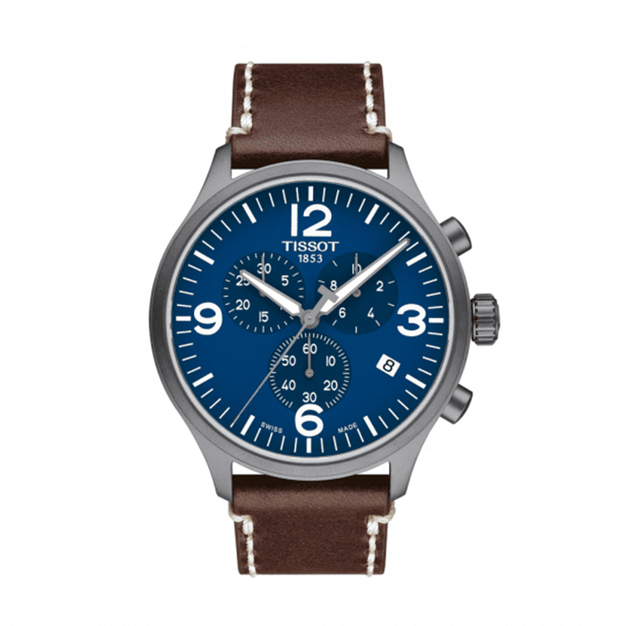 TISSOT T-Sport Chronograph XL Blue Dial Men's Leather