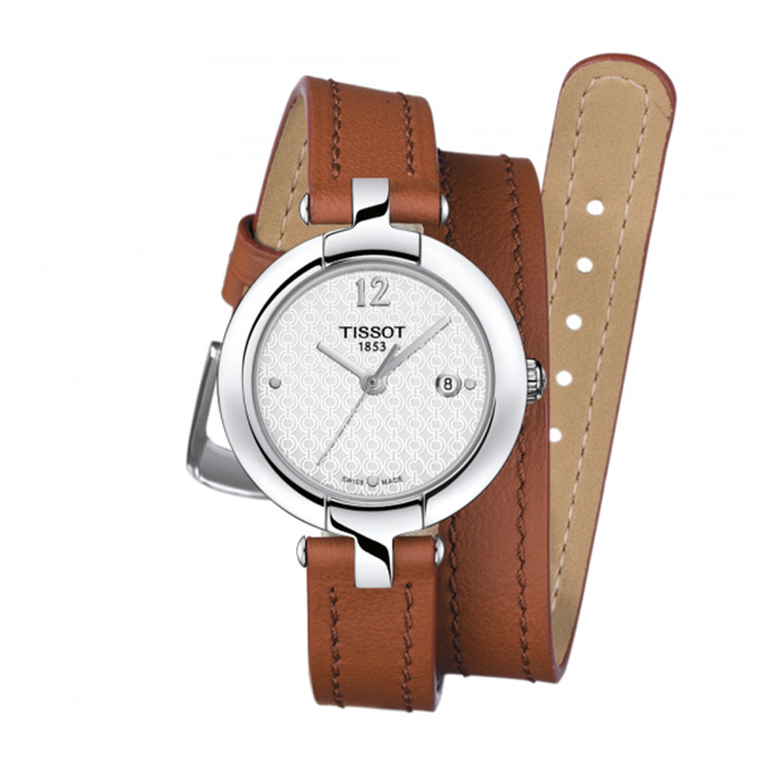 TISSOT T-Trend Pinky Silver Dial Light Brown Leather Ladies Watch