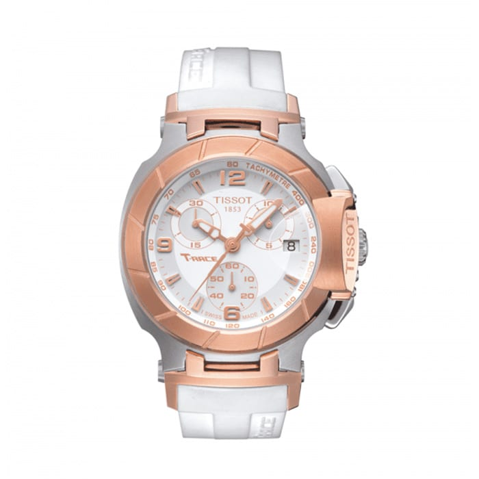 TISSOT T-Race Chronograph Lady White Rubber Strap Watch