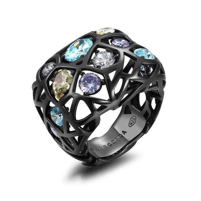 PIANEGONDA Nexum Silver and Black Ring