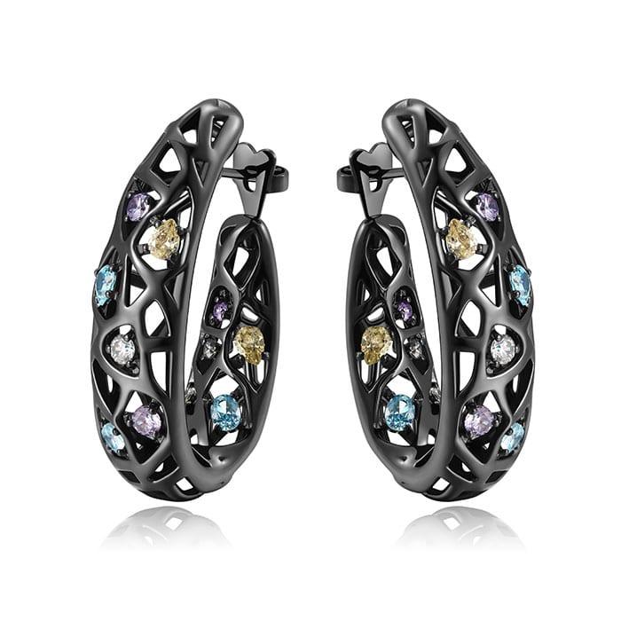 PIANEGONDA Nexum Silver and Black Earrings