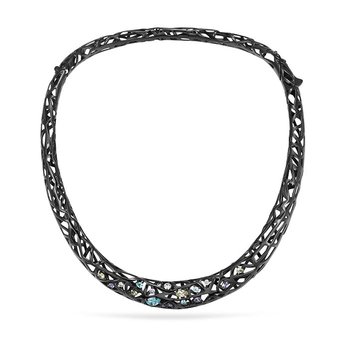 PIANEGONDA Nexum Silver and Black Necklace